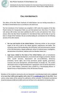فراخوان مقاله برای سالنامه حقوق ملل متحد بنیاد مکس پلنک (Max Planck) در سال ۲۰۱۴